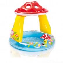 Детский надувной бассейн Intex 57114 «Грибочек»,102 х 89 см, с навесом и надувным дном