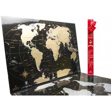 Подробная скретч карта мира MyGift Black Edition ENG для любимого человека In Love, в оригинальном тубусе, 88х63 см