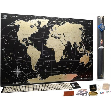 Подробная скретч карта мира MyGift Black edition ENG с золотым тиснением в оригинальном тубусе, 88х63 см