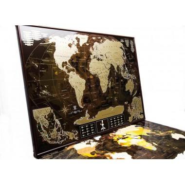 Подробная скретч карта мира MyGift Chocolate Edition ENG для любимого человека In Love, в оригинальном тубусе, 88х63 см