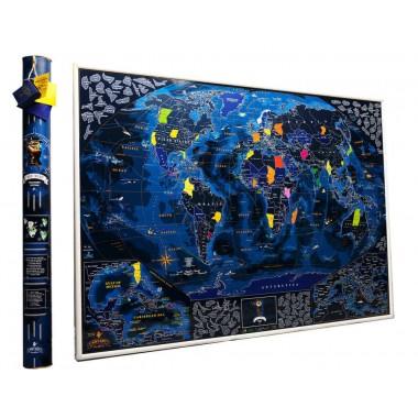 Подробная морская скретч карта мира MyGift Discovery Edition ENG в оригинальном тубусе, 88x63см